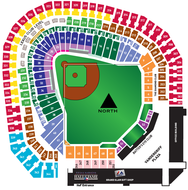 Texas Ranger Stadium Seating Map Seat Selector — Rangerfans.com